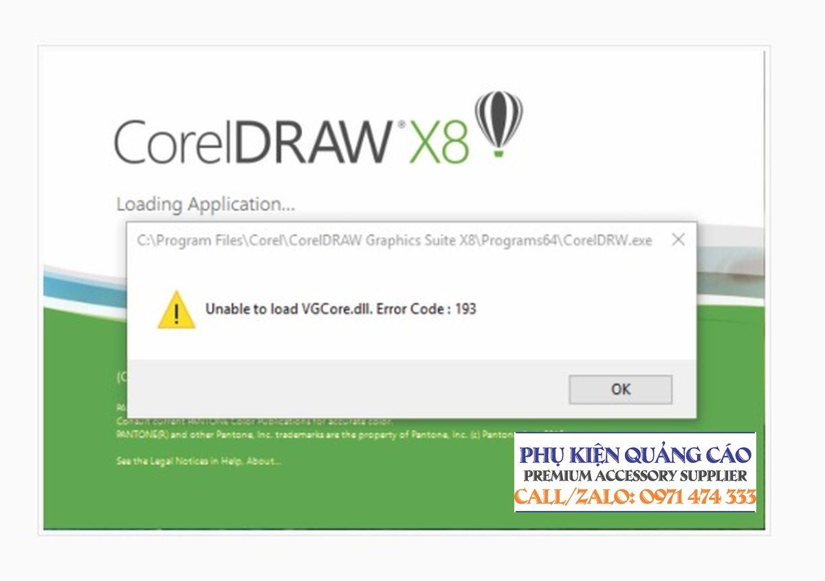 Khắc phục lỗi Unable to load VGCore.dll.Error trên CorelDRAW